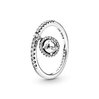 Prsten s visećim prozirnim svjetlucavim medaljonom