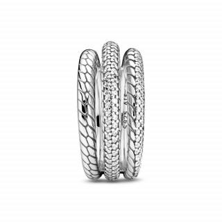 Prsten Tri pavé obruča s uzorkom zmijskog veza