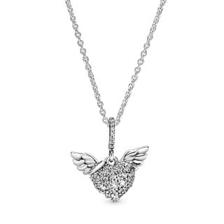 Ogrlica Pavé srce s anđeoskim krilima