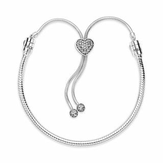 Narukvica Pandora Moments s kopčom i zmijskim vezom Pavé srce