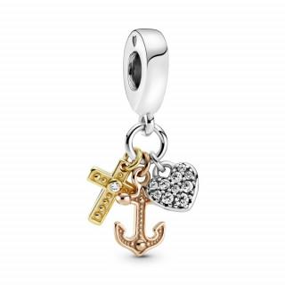 Viseći privjesak u tri nijanse Križ, srce i sidro