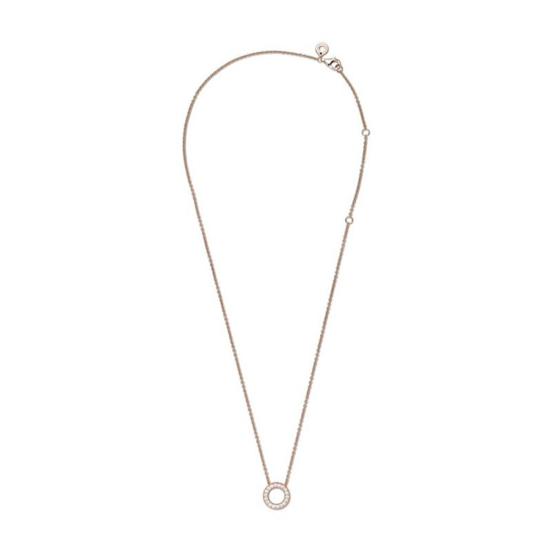 Ogrlica s pavé krugom i logotipom Pandora koja naliježe usko uz vrat