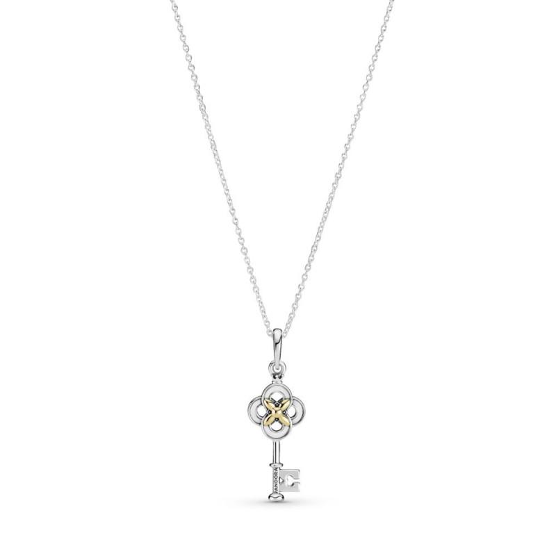Ogrlica u dvije nijanse Ključ i cvijet