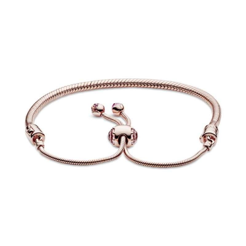 Narukvica Pandora Moments Ružičasti cvijet breskve od zmijskog veza