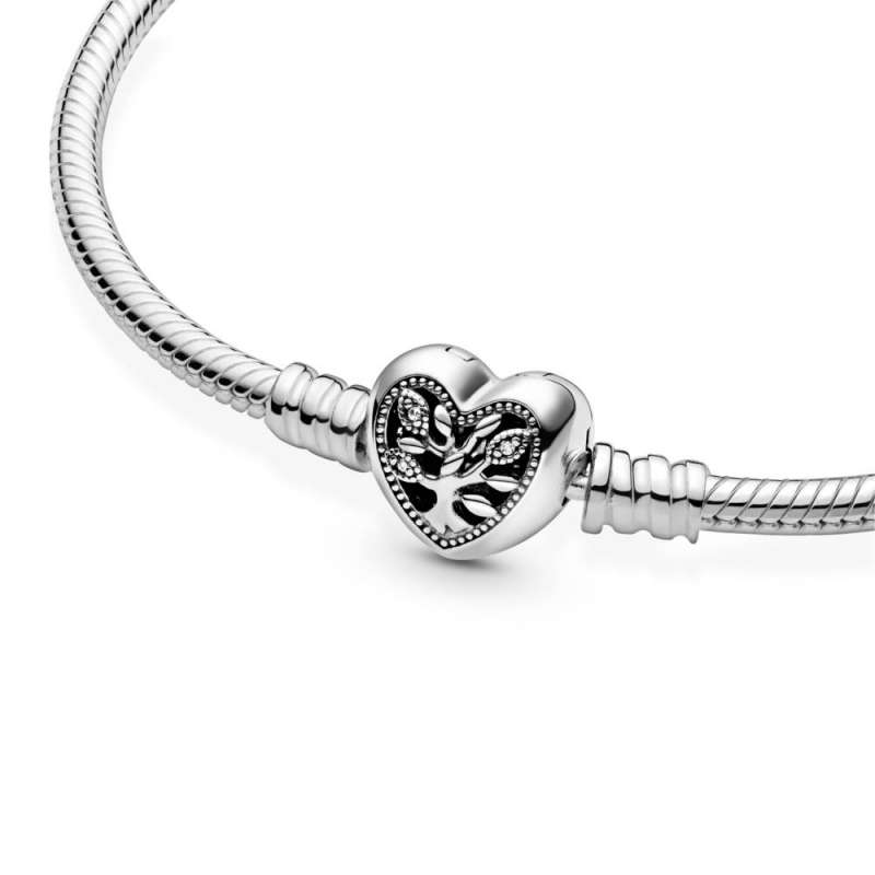 Narukvica Pandora Moments Obiteljsko stablo sa zmijskim vezom i kopčom u obliku srca