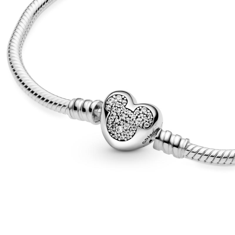 Narukvica Disney Pandora Moments Mickey Mouse sa zmijskim vezom i kopčom u obliku srca